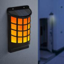 LED-es szolár fali lámpa - lángeffekttel - fekete, rácsos