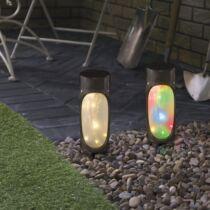 LED-es szolár lámpa - MicroLED - melegfehér + RGB - fekete - 280 mm