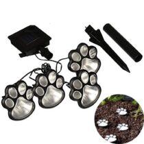 LED-es szolár lámpa - kutya lábnyom, leszúrható - műanyag - fekete - 320 cm