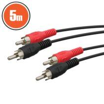 2x RCA dugó - 2x RCA dugó 5,0 m RCA kábel