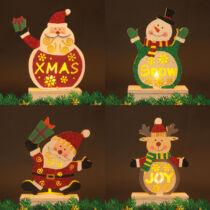 Karácsonyi asztali enteriőr LED-es dekoráció fából 4 féle