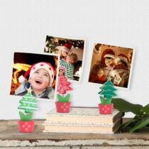Karácsonyi fényképtartó asztali rugós csipesz dekor -  3 darab / csomag