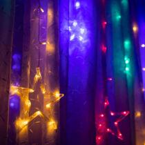 Karácsonyi LED fényfüzér - csillagok - multicolor - 6 nagy, 6 kicsi - 3 x 1 m