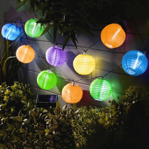 Szolár lampion fényfüzér - 10 db színes lampion, hidegfehér LED - 3,7 m