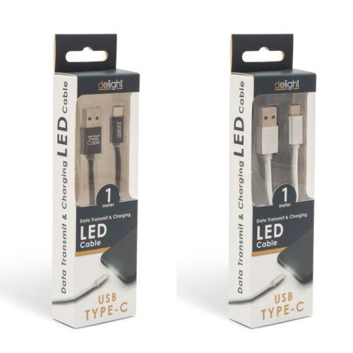 Adatkábel - USB Type-C LED fénnyel 1 m