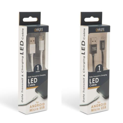 Adatkábel - MicroUSB LED fénnyel 1 m
