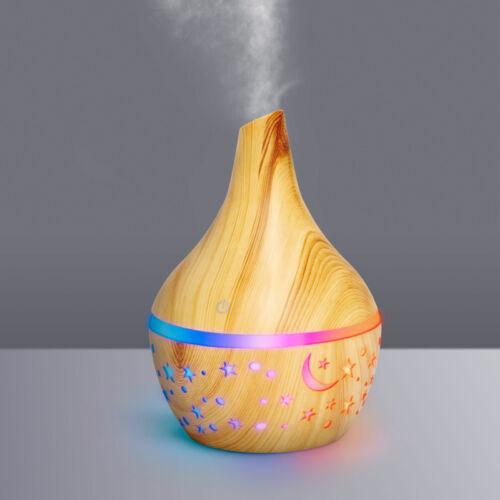 Színváltós fényterápiás aroma diffúzor párologtató - fahatású minta - 300 ml